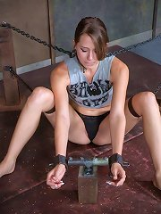 Flexible girl with metal neck collar gets her mo..